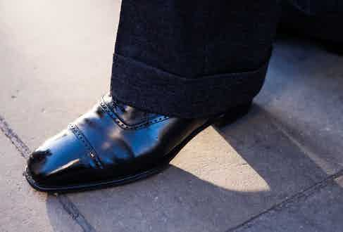 A pair of semi-bespoke Peter brogues from G.J. Cleverley are a good option to finish a formal ensemble for a festive-do. Photograph by Luke Carby.