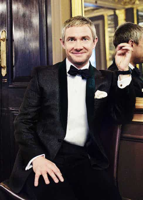 Martin Freeman wears a subtly patterned silk jacquard dinner jacket with green velvet lapels, a great alternative to the more traditional black or midnight blue. Photograph by Simon Emmett.