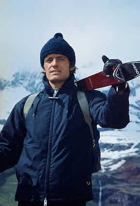 Jean-Claude Killy's second outfit in Snow Job lends itself more to an urban setting with a matching dark navy ski jacket and bobble hat, 1972.