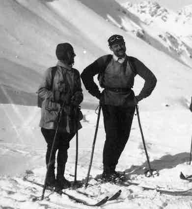 Ernest Hemingway wears a loosely fitted ski-jacket with a collared shirt for a ski trip with friends in Shruns, Austria, 1926.
