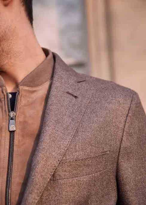 The Corneliani ID jacket with the signature detachable chest piece. Photograph by Kim Lang.