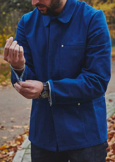 This Blackhorse Lane blue chore jacket features three front pockets and is crafted from hardy natural indigo denim. Photograph by James Munro.