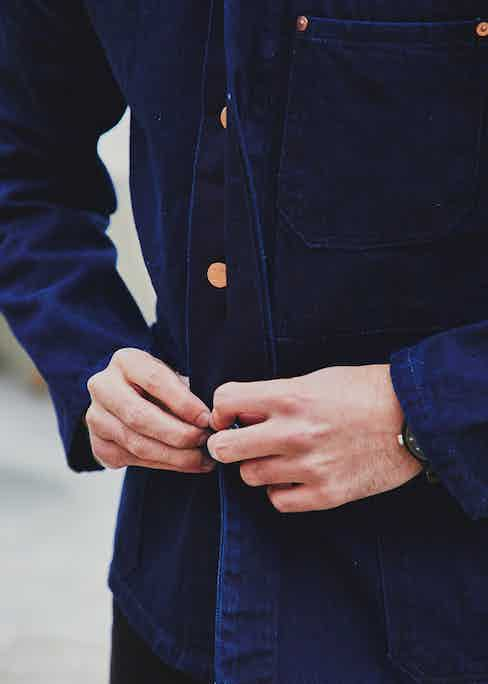 Blackhorse Lane's chore coat is also available in a darker-than-usual double indigo. Photograph by James Munro.
