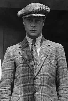 The Duke of Windsor wears varying sizes of Prince of Wales checks in his tailoring and his cap.