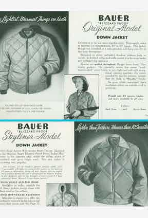 The original 'blizzard proof' Bauer jacket with down filling and quilted outer shell, from 1936.