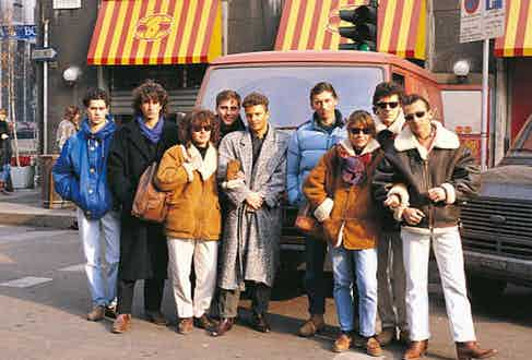 A group of 'paninaro' youngsters at the Piazza San Babilo, wearing their signature branded clothing in 1987.