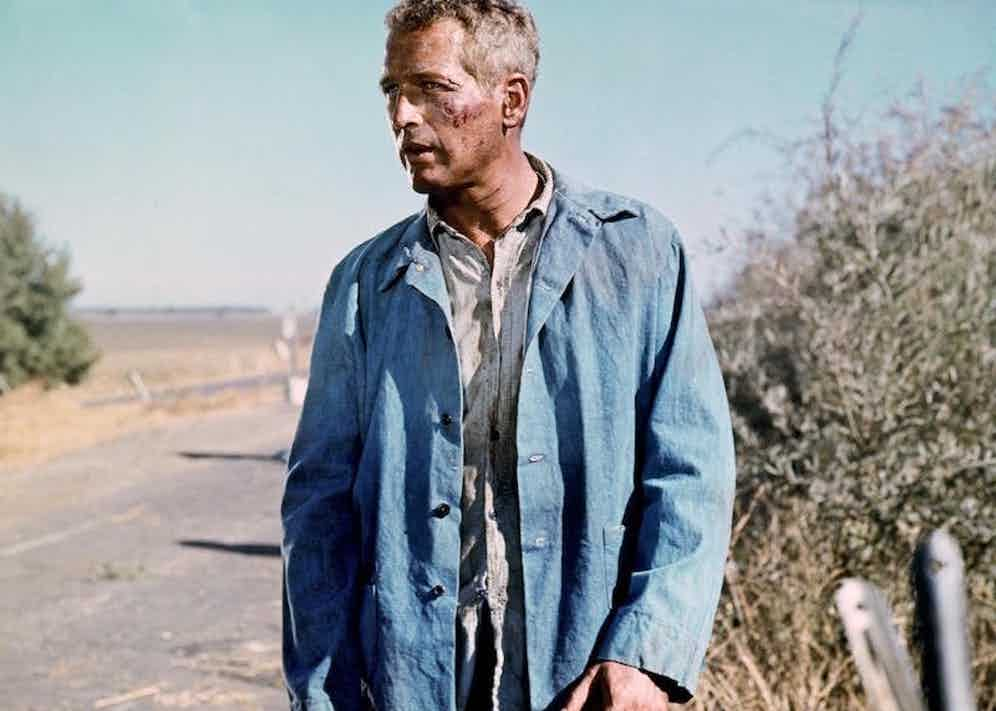 Paul Newman wears a French worker's jacket in Cool Hand Luke, 1967.