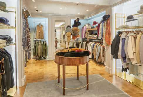 The clothing section of William & Son, featuring cashmere knitwear, tweed outerwear and accessories.
