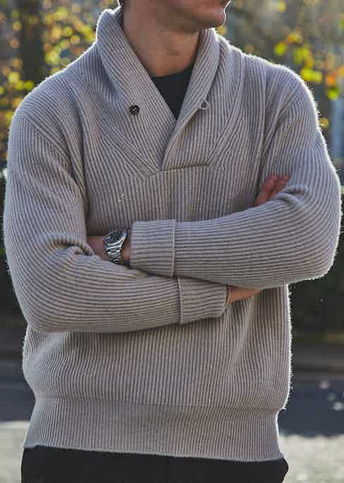 The shawl collar jumper is made from chunky 2-ply cashmere and will work equally well with jeans or tailored trousers. Photograph by James Munro.