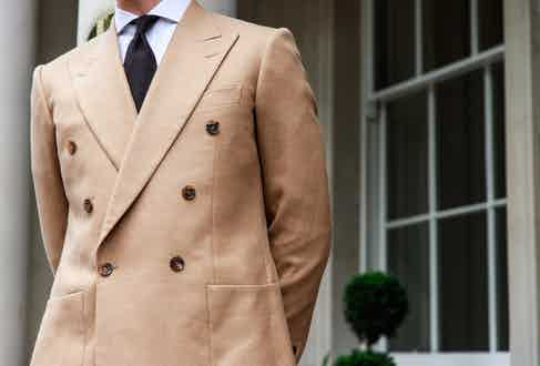 Chester Barrie double-breasted blazer in camel cashmere. Photograph by James Munro.