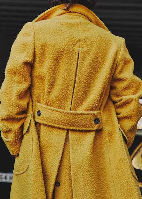 Rubinacci ulster coat in yellow casentino wool. Photograph by James Munro.