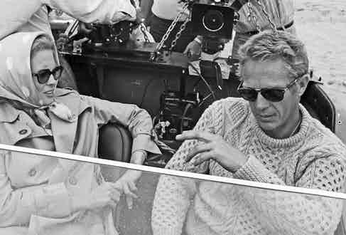 McQueen pictured with Faye Dunawa wearing a vintage cable knit sweater paired with his signature Persol frames in The Thomas Crown Affair. 1968.