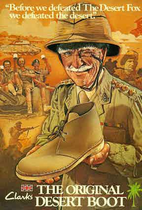 An early advertisement by Clarks shoes.