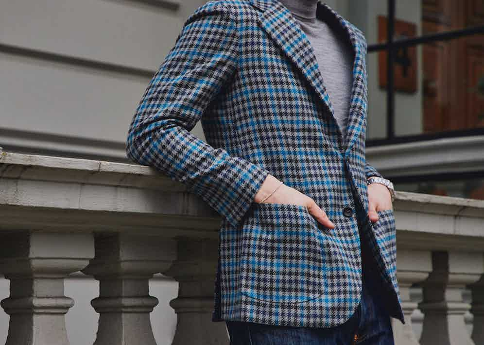Dalcuore's single-breasted jacket features patch pockets and makes for a versatile choice. Photograph by James Munro.