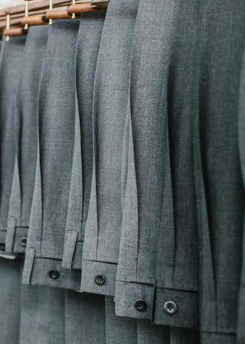 Salvatore Ambrosi's reverse pleated trousers also demonstrate exceptional levels of craft and handwork and here you can see the elegant and sharp architectural lines that they create. Photo by Jamie Ferguson.
