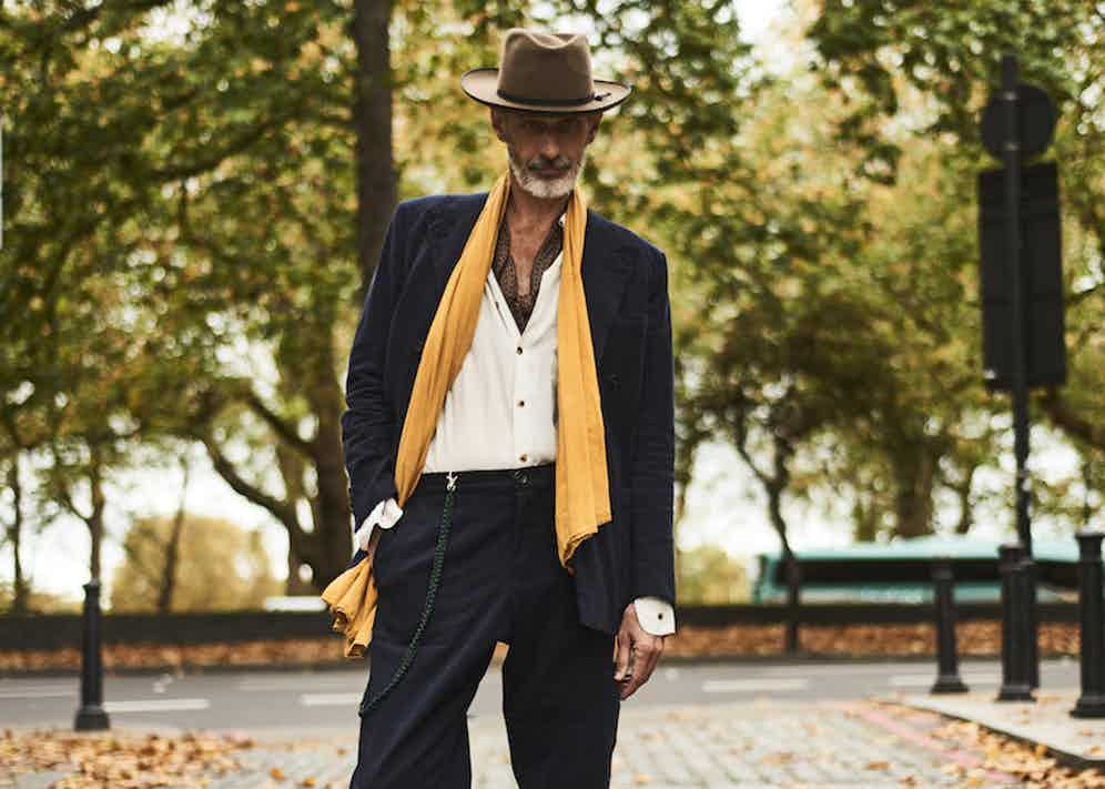 Stylist William Gilchrist wears cotton twill double-breasted jacket, Richard Anderson; cotton twill trousers, Oliver Spencer paired with a white shirt and a Stetson fedora.