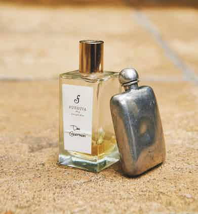 """""""It's organic and all that kerfuffle,"""" he says about his fragrance from Fueguia 1833, which he discovered in Buenos Aires and has only ever managed to find there. Propped against it is his hip flask, with Fortaleza Blanco tequila at the ready."""