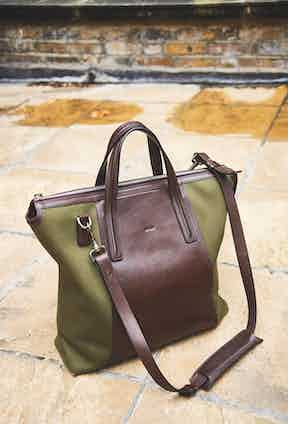 """Strong, sturdy and easy to throw about, William's bag is from the Danish luggage brand Mismo. """"I don't really see a bag as anything other than a receptacle,"""" he says."""