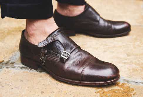 Sporting his favourite pair of running-about-town shoes, William wears a pair of double monkstrap shoes by Oliver Spencer. He opts for buckling only one strap, to make it easier to slip in and out of.