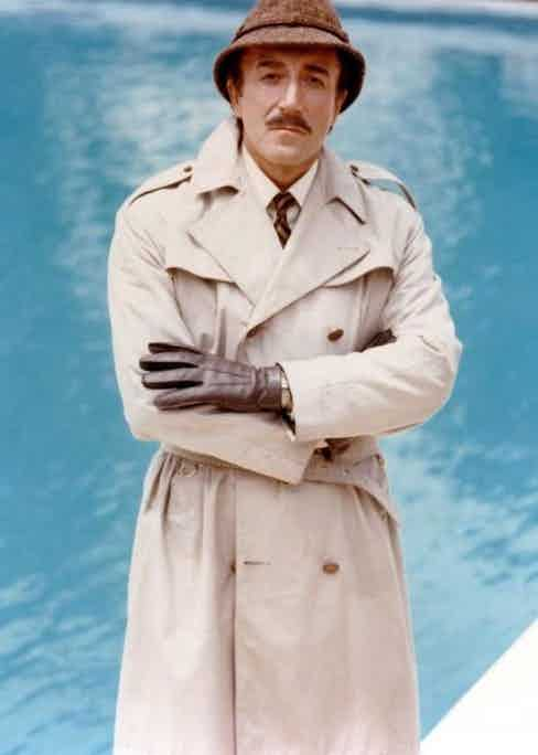 Peter Sellers wears the coat with comic effect in Inspector Clouseau in The Pink Panther, 1963.