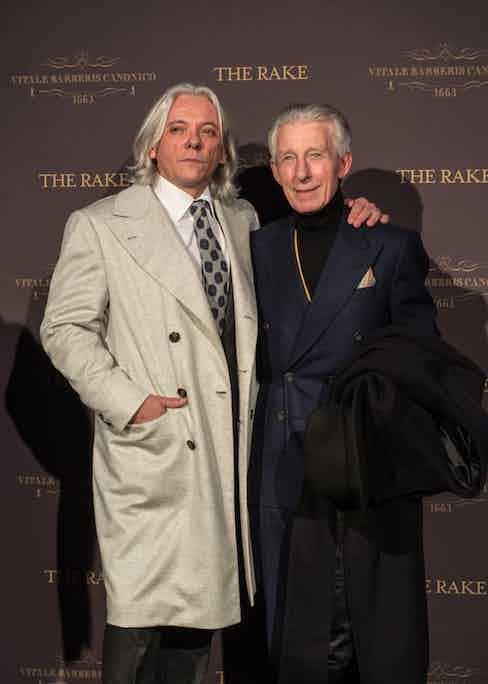 Editor-in-chief of men's style website, Parisian Gentleman, Hugo Jacomet and British tailor Edward Sexton.