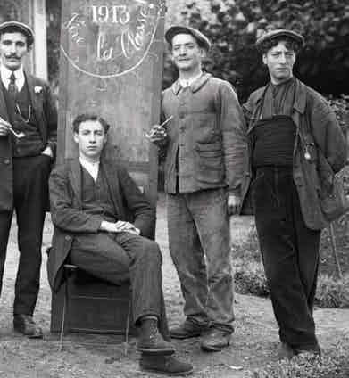 Conscripts wear wide-wale corduroy trousers, chore jackets and caps made in various wool patterns, 1913.