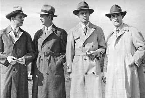 Trench coats in the 1940s were often paired with tailoring and a fedora hat for a sophisticated and elegant look.