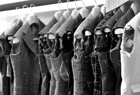 A rail of jackets in the construction stages.
