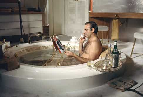 Sean Connery taking a soak as James Bond in Diamonds Are Forever. Both Bond and creator Ian Fleming were known to patronise Floris.