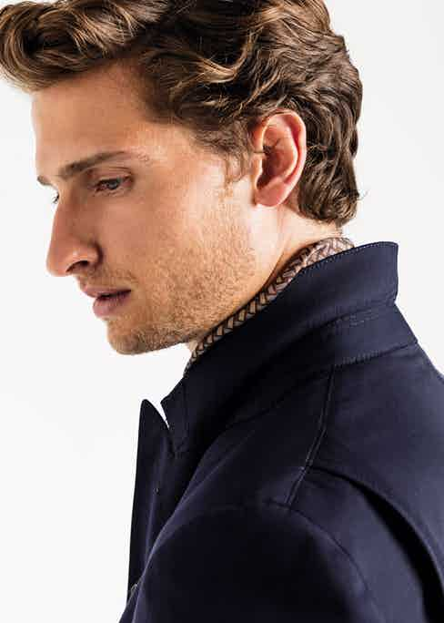 Navy Houdini wool travel jacket, Caruso for The Rake. Photograph by James Munro.