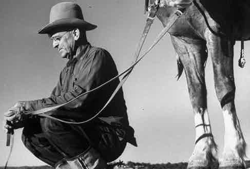 A rancher wearing turn-up selvedge denim jeans, circa 1950s.