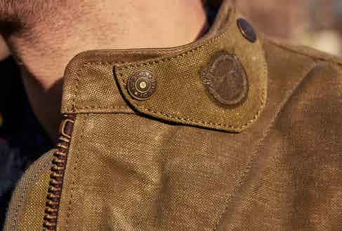 Each piece is finished with buttons and fastenings bearing the Thedi Leathers name. Photograph by Kim Lang.