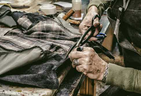 The cutting, assembling and stitching is done in Thedi Leathers' workshop in Greece.