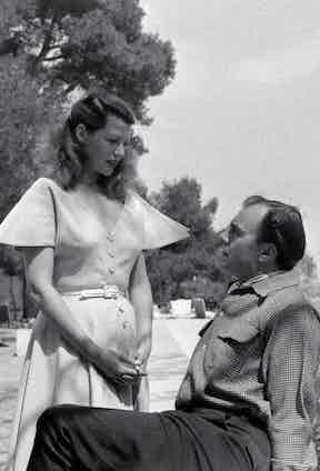 Aly Khan photographed with American actress and singer, Rita Hayworth, circa 1949.