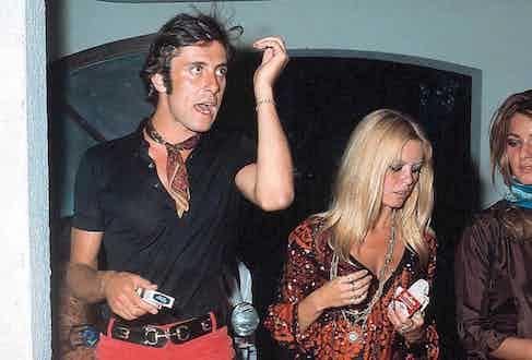 Gigi Rizzi and Brigitte Bardot stepping out for a smoke, circa 1965.