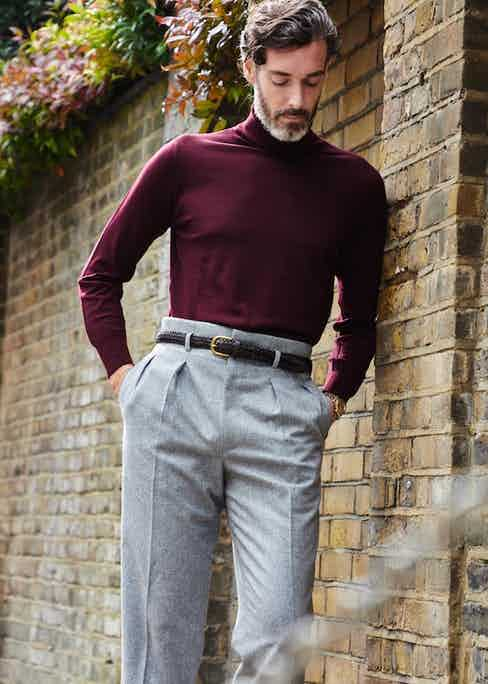 Richard Biedul wears Edward Sexton Hollywood tops, with a soft knit tucked into the belted waist. Photo by James Munro.