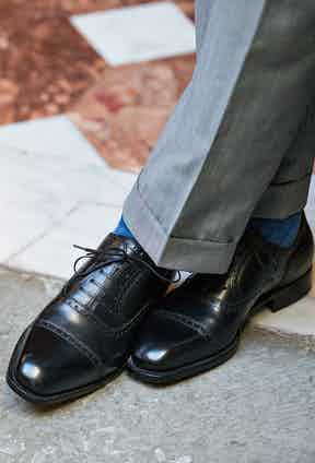 A pair of Oxford shoes by Stefano Bemer are ideal, as long you keep them polished.