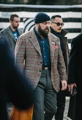 Ethan Newton's checked blazer is worn over an indigo denim shirt. Photograph by Jamie Ferguson.
