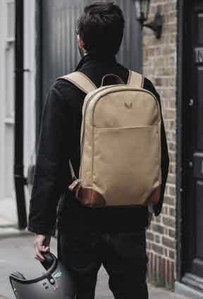 Bennett Winch's backpack comes in several colourways. Co-Founder Robin Shreeve prefers the olive version, which he wears on the back of his Triumph.