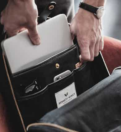 The Bennett Winch backpack includes useful compartments for organising files, devices and accessories.