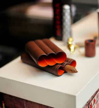 Fallon's beautifully crafted cigar cases are a stylish accessory that can keep you company on the cigar terrace.