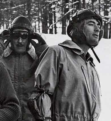 Gregory Peck looks down the slope in St. Moritz whilst participating in the Cresta Run, wearing a Grenfell Walker jacket, circa 1960s.