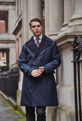 The Mayfair boasts extremely wide lapels that can also cater to a removable shearling collar in ivory.