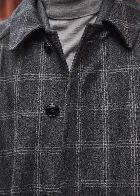 Using flannel from Vitale Barberis Canonico's Original Flannel bunch, the Cavendish coat boasts a subtle window pane check, whilst the other three items feature a chalk-stripe and two variations of a houndstooth.