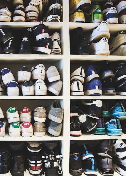 George's impressive shoe collection, including vintage sneakers and sports shoes.