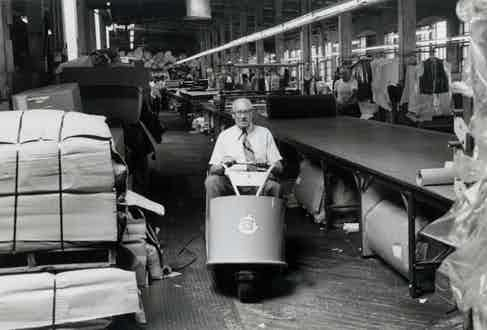 Company founder Irving Schott pictured in the Schott factory.