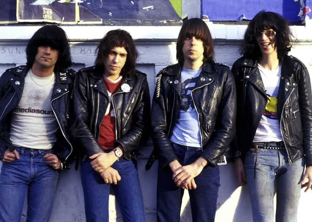 American punk rock band the Ramones made Perfectos their sartorial signature, pictured here in 1978.