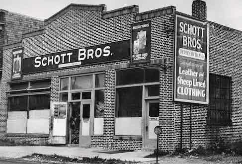 The original Schott factory in New York City, circa 1928.
