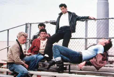 John Travolta rocked a biker jacket as bad boy Danny Zuko in '50s-set teen musical Grease, 1978.
