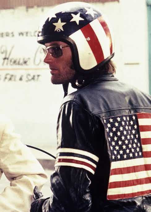 Peter Fonda's Captain America in 1969 hippie classic Easy Rider provided another image of the leather-clad counter-cultural figure. Photograph by Columbia/Kobal/REX/Shutterstock.